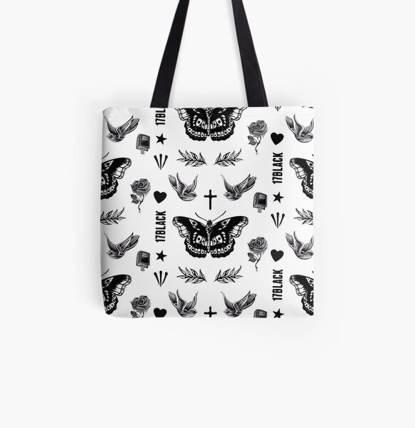 Hazza Bird and Butterfly Tattoos All Over Print Tote Bag