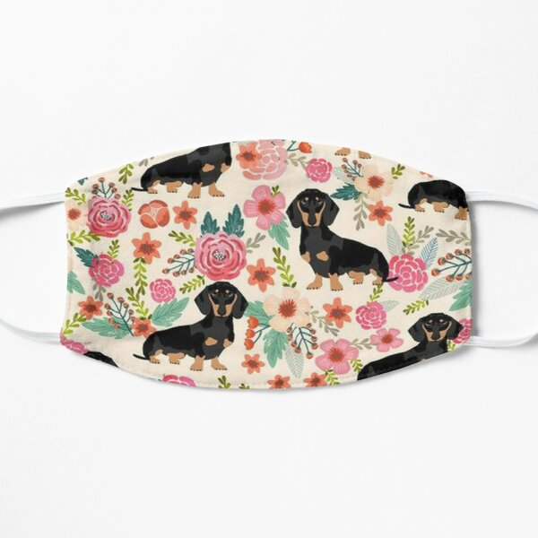 Dachshund Dogs and flowers Flat Mask