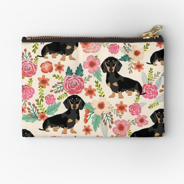 Dachshund Dogs and flowers Zipper Pouch