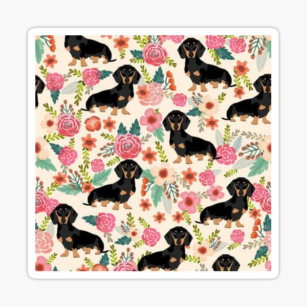 Dachshund Dogs and flowers Sticker
