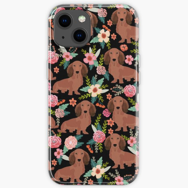 Dachshund Dogs with flowers iPhone Soft Case