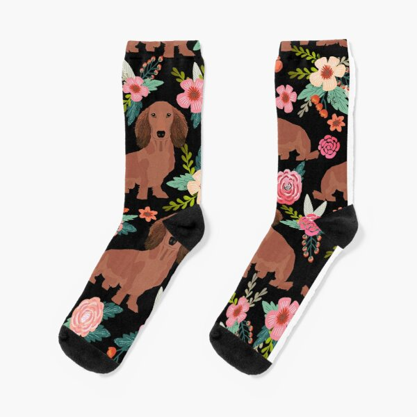 Dachshund Dogs with flowers Socks