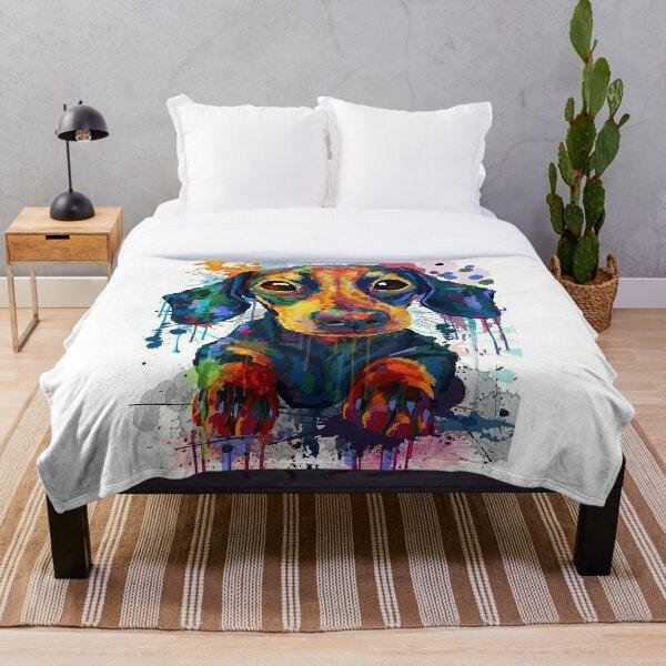 Dachshund Dog Art Throw Blanket