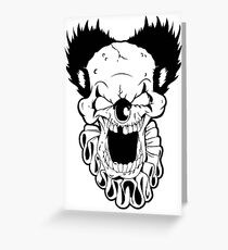 Maniacal Skull Clown Greeting Card