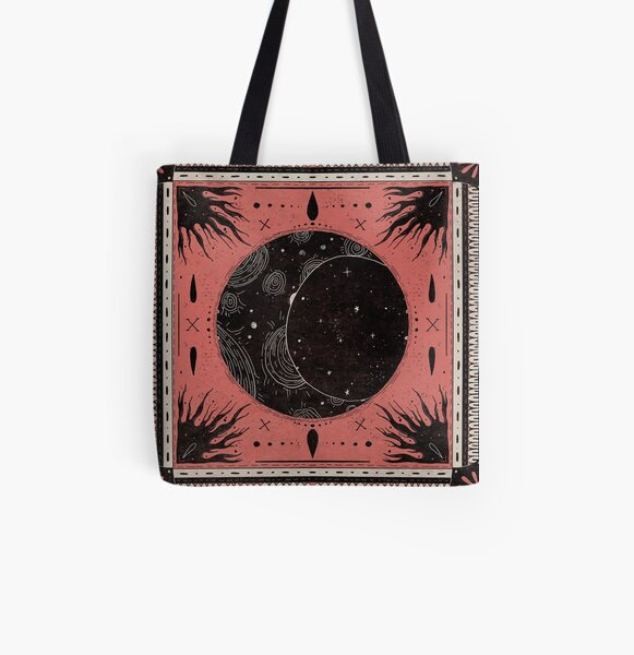 Black Sun and Moon Witch All Over Print Tote Bag