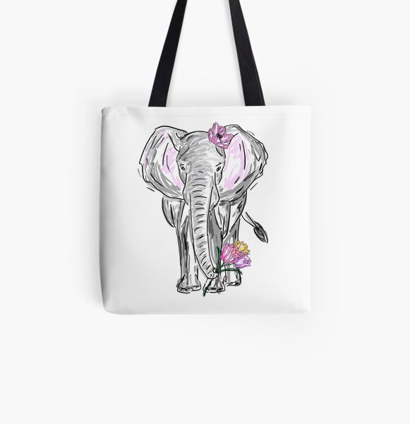 Elephant with Tulips All Over Print Tote Bag
