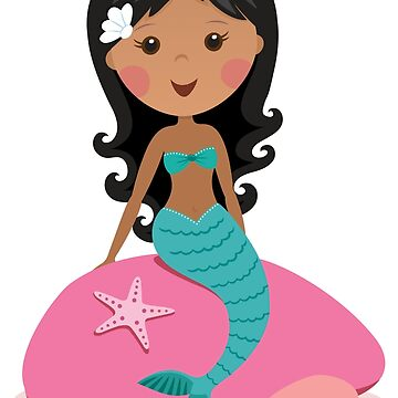 Cute african american mermaid sitting on a pink rock by MheaDesign