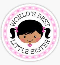 World's best little sister sticker, cartoon girl with dark skin and black hair Sticker