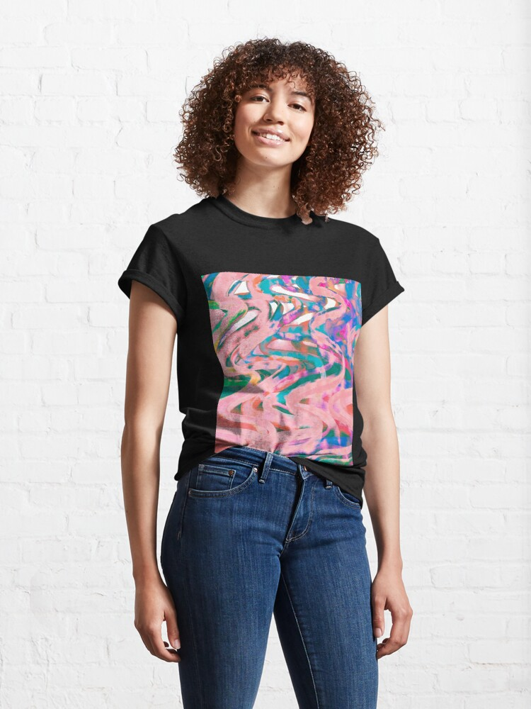 Alternate view of Abstract Pop Art Decor - Poptastic - Pink Neon and Teal Swirls Classic T-Shirt