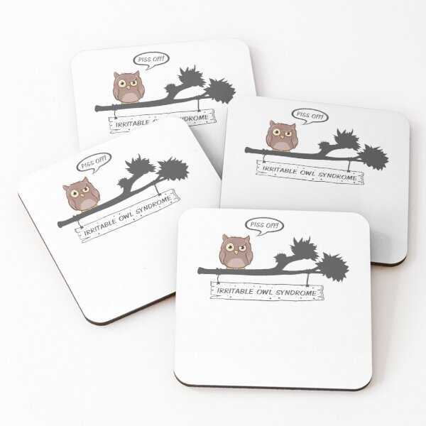 Copy of Owl & Coffee Themed Design - I think the Coffee is Kicking In Coasters (Set of 4)