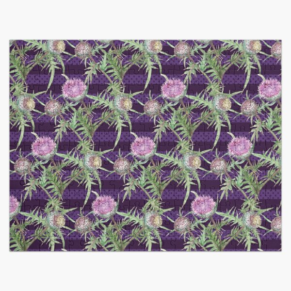 Thistle violet flowers and purple stripes Jigsaw Puzzle