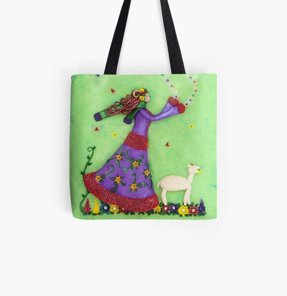 Aries - Aries Girl with Sheep Art All Over Print Tote Bag