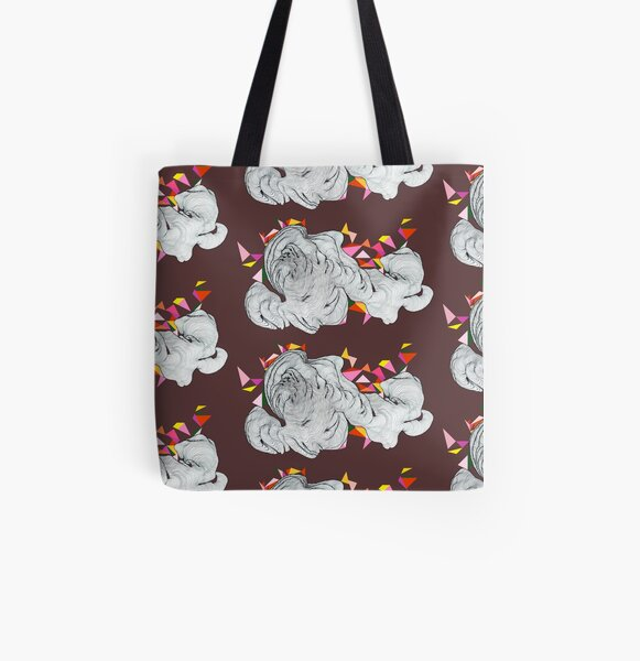 Clouds - Maroon All Over Print Tote Bag