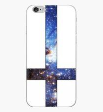 Vinilo o funda para iPhone Azul Galaxy invertida cruz blanca