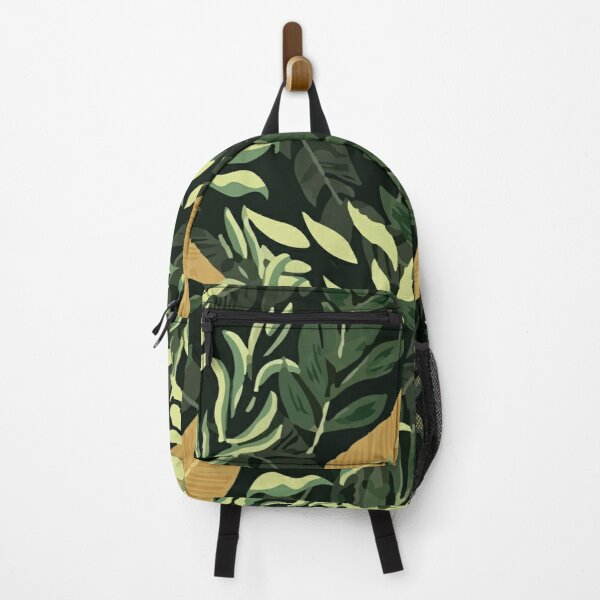 Fashionable Tropical Pattern With Beautiful Yellow Green Leaves Plants Backpack