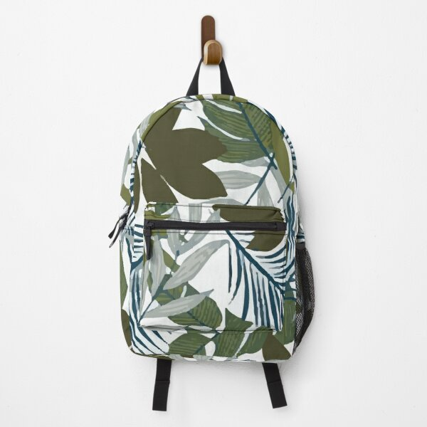 Fashionable Tropical Pattern With Bright Blue Green Plants Leaves Backpack