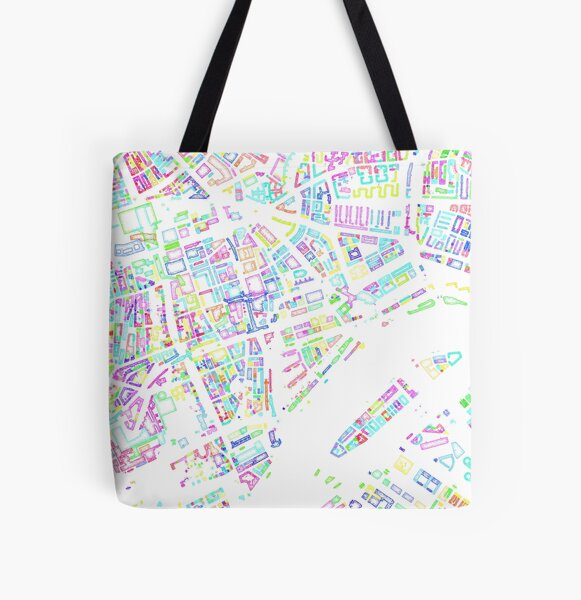 Rotterdam Colour Pencil Style All Over Print Tote Bag
