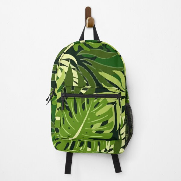 Fashionable Tropical Pattern With Bright Green Plants Leaves Backpack