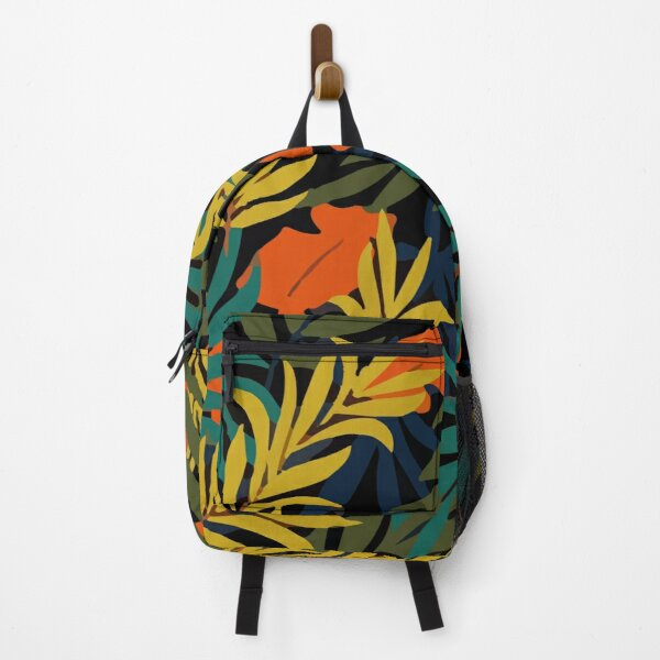 Fashionable Tropical Pattern With Bright Green Blue Plants Leaves Backpack