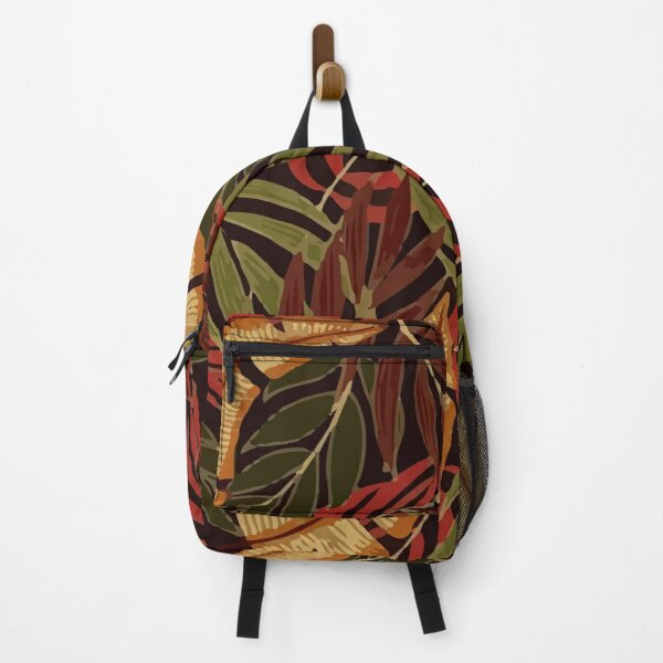 Fashionable Tropical Pattern With Bright Green Red Plants Leaves Backpack