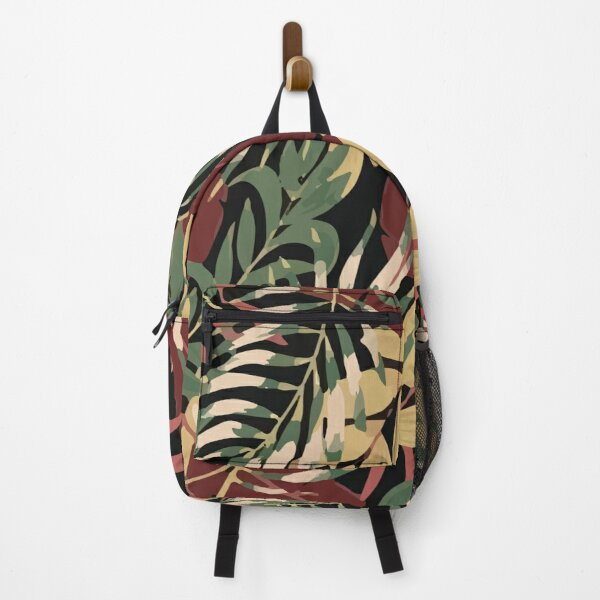 Fashionable Tropical Pattern With Bright Green Yellow Plants Leaves Backpack