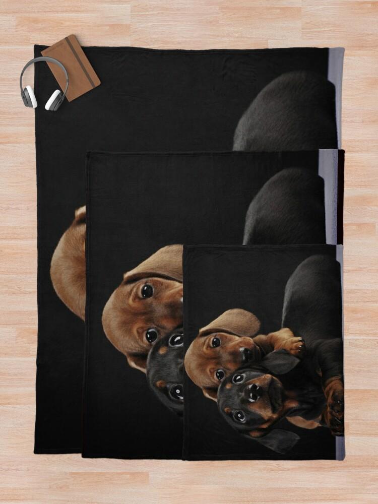 Alternate view of Dachshund Dog portrait photo pupies Throw Blanket