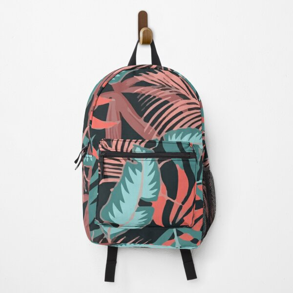 Fashionable Tropical Pattern With Bright Pink Blue Plants Leaves Backpack