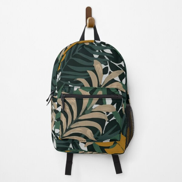 Fashionable Tropical Pattern With Bright Orange Green Plants Leaves Backpack
