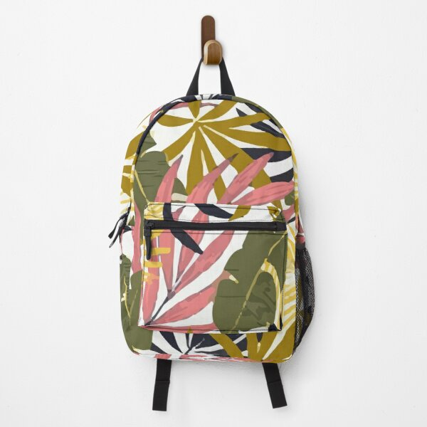 Fashionable Tropical Pattern With Bright Pink Green Flowers Backpack