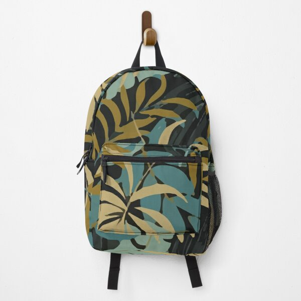 Fashionable Tropical Pattern With Bright Red Blue Plants Leaves Backpack