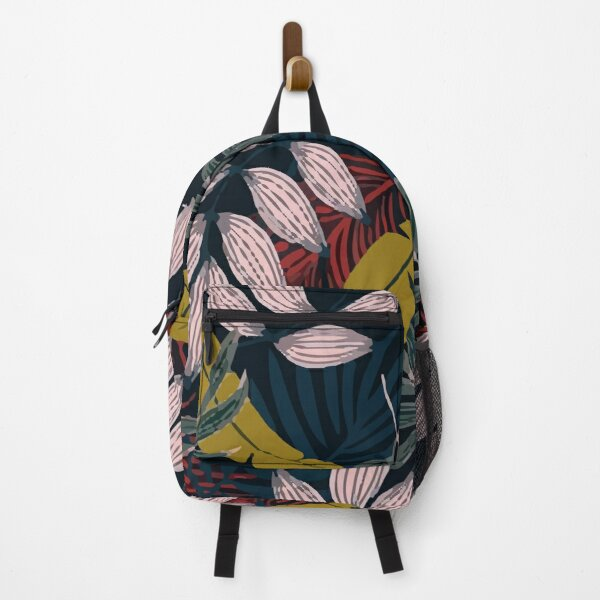 Fashionable Tropical Pattern With Bright Yellow Red Plants Leaves Backpack