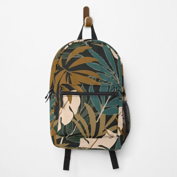 Fashionable Tropical Pattern With Bright Yellow Blue Plants Leaves Backpack
