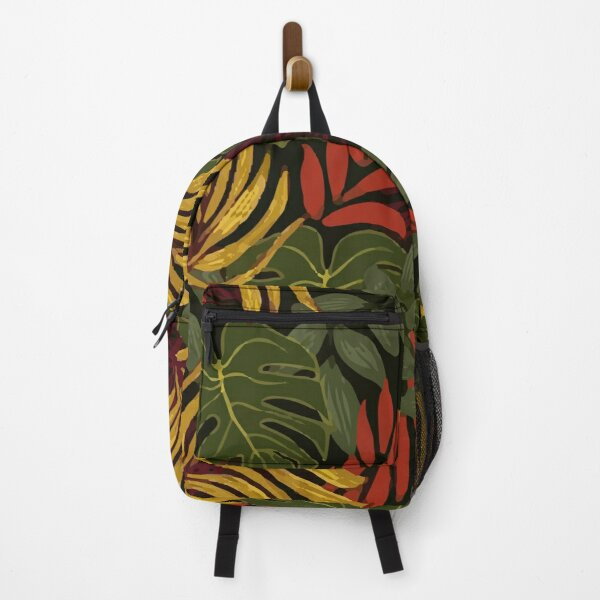 Fashionable Tropical Patter Yellow Red Plants Leaves Backpack