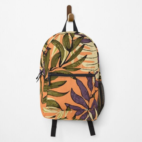 Original Abstract Pattern With Colorful Tropical Leaves Plants Yellow Backpack