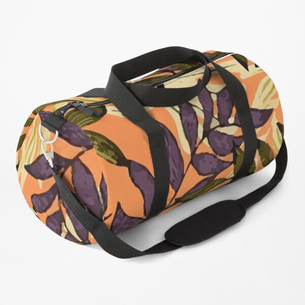 Original Abstract Pattern With Colorful Tropical Leaves Plants Yellow Duffle Bag
