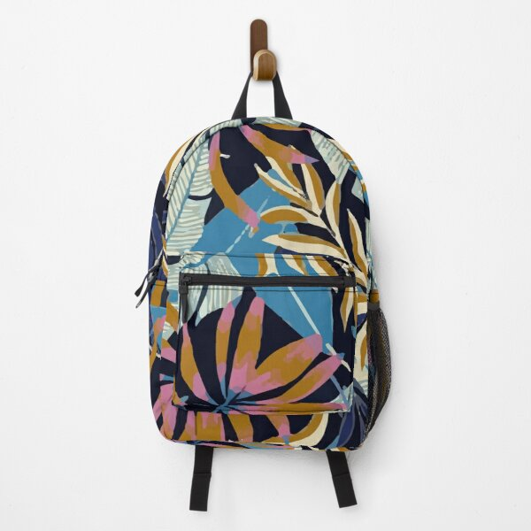Original Tropical Pattern With Bright Blue Pink Flowers Backpack