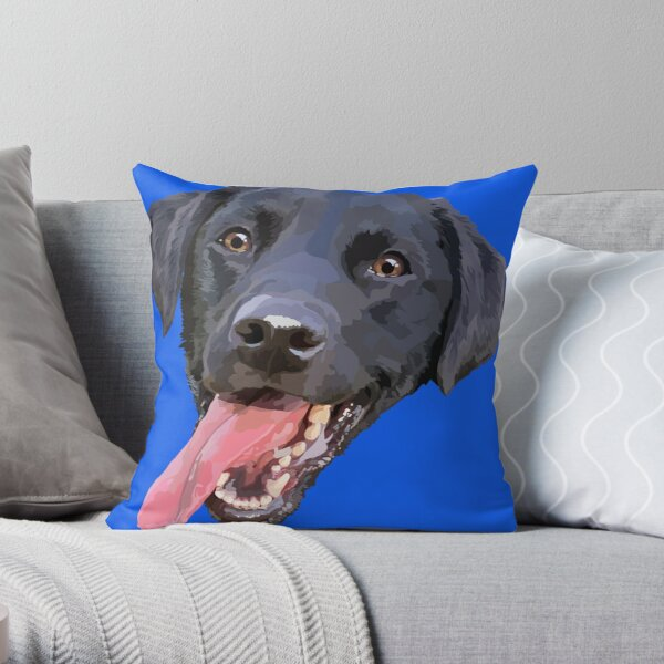 Black Lab with tongue out Throw Pillow