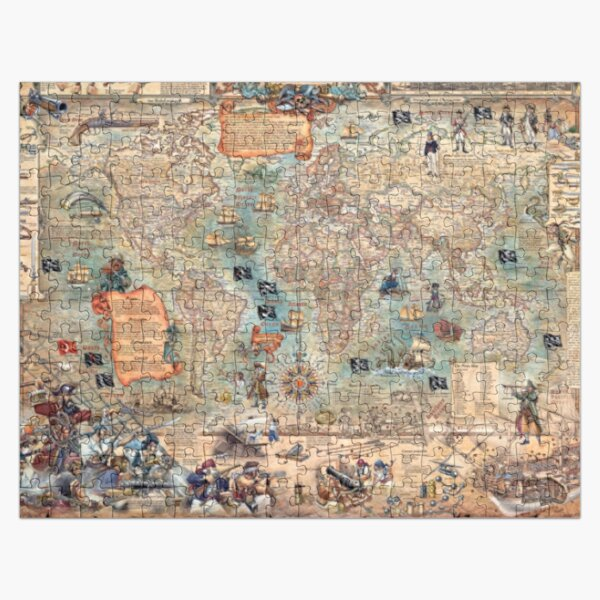 Pirates, Old Map, All Country Pattern, Map Educational Jigsaw Puzzle