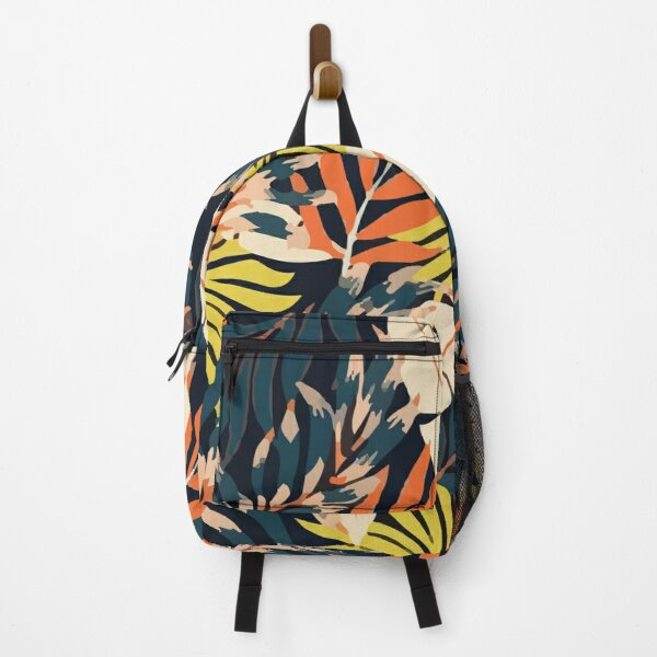 Original Tropical Pattern With Bright Orange Flowers Backpack