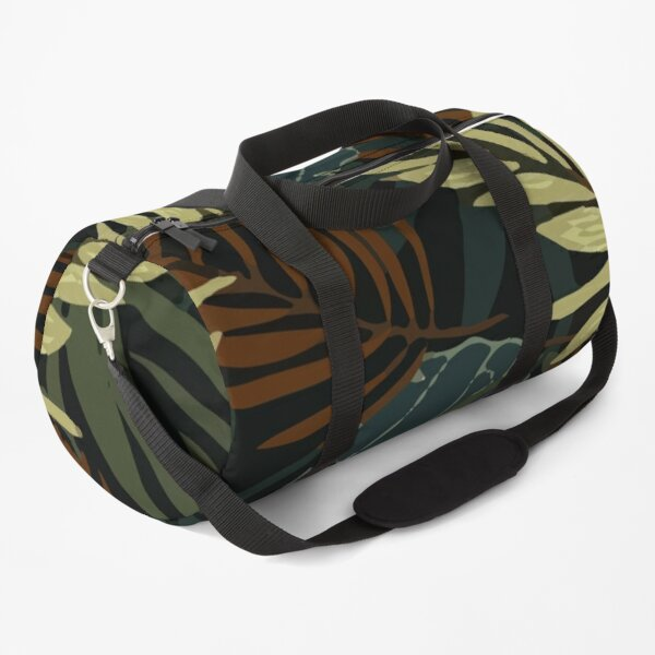 Original Tropical Pattern With Bright Brown Yellow Plants Leaves Duffle Bag