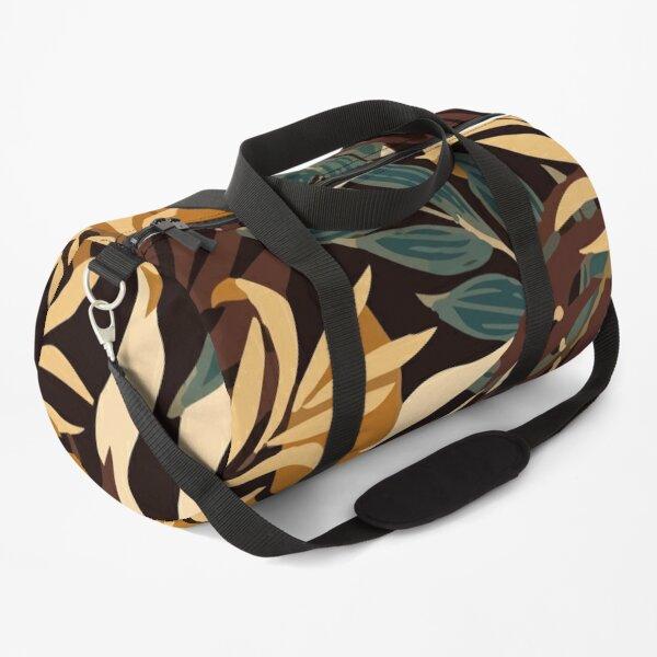 Original Tropical Pattern With Bright Orange Plants Leaves Duffle Bag