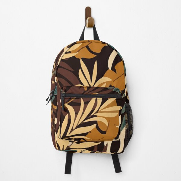 Original Tropical Pattern With Bright Orange Plants Leaves Backpack