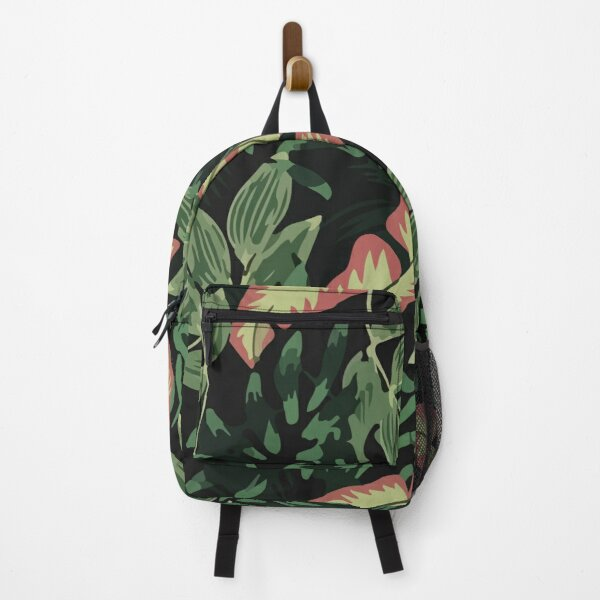 Original Tropical Pattern With Bright Pink Green Plants Leaves Backpack