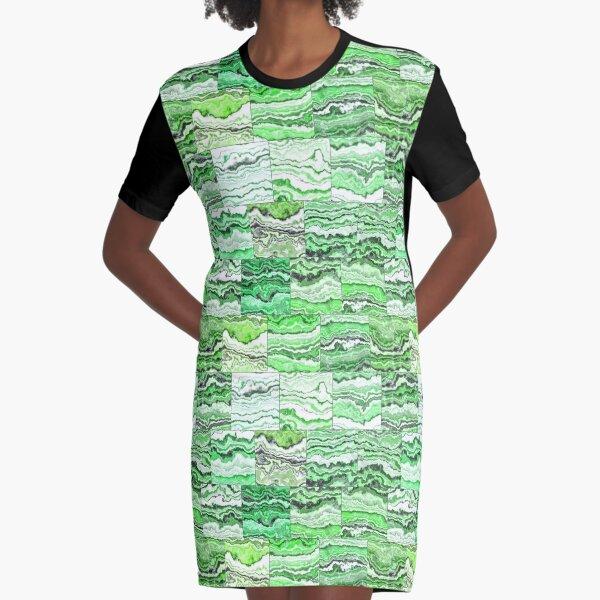 Green Malachite Tiles Graphic T-Shirt Dress