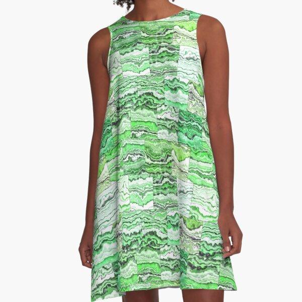 Green Malachite Tiles A-Line Dress
