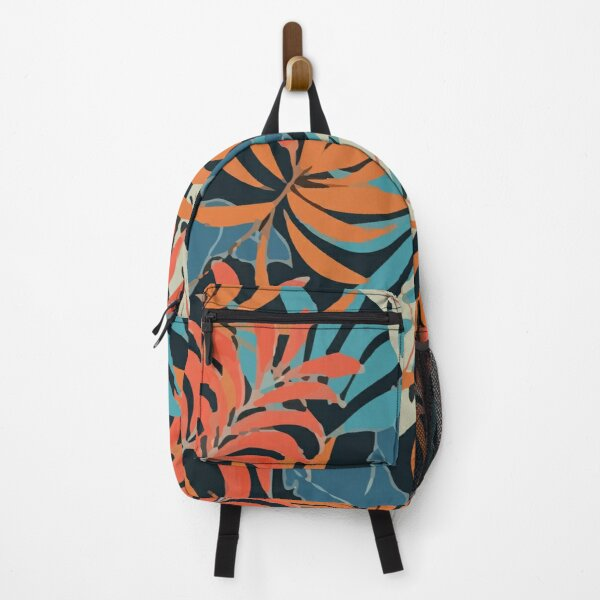 Original Tropical Pattern With Bright Red Blue Plants Leaves Backpack