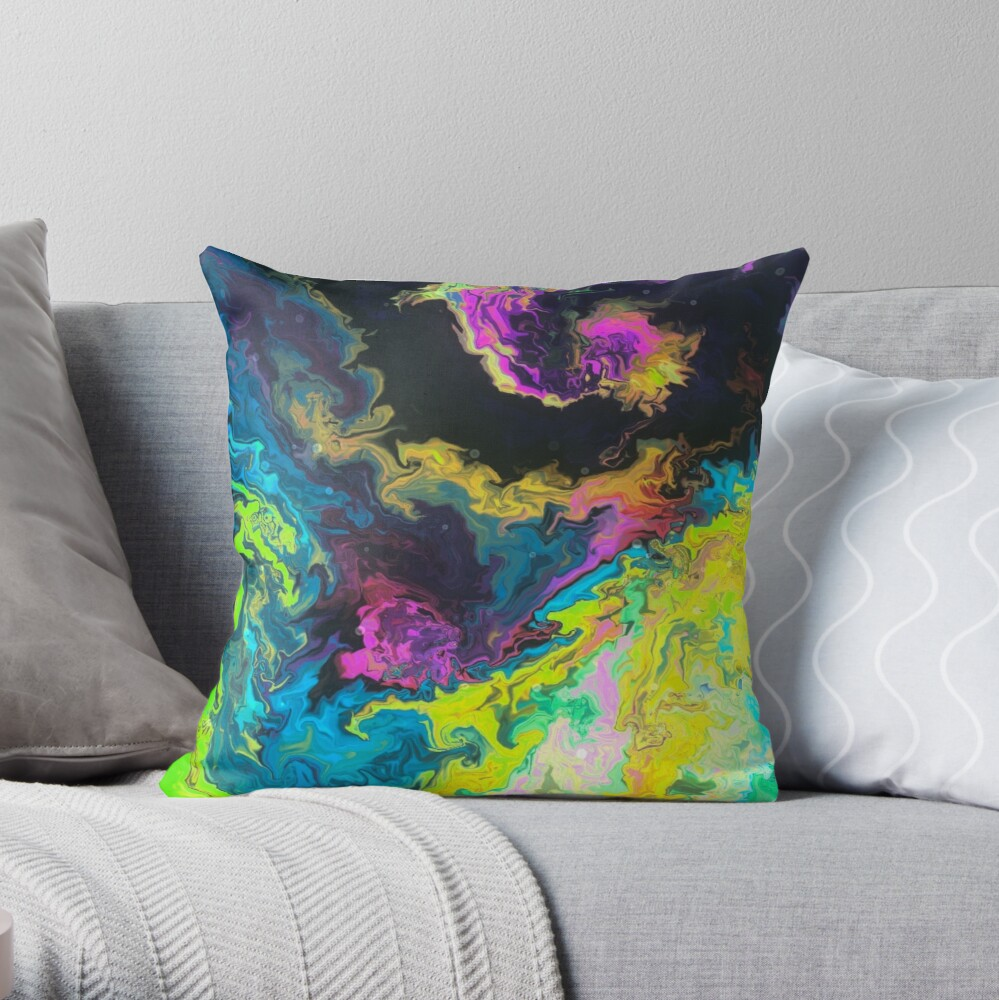 Multicolored unique everlasting pattern, decorative,  aesthetic design, acrylics Throw Pillow
