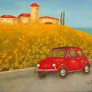 Vintage Red Fiat 500  by Allegretto