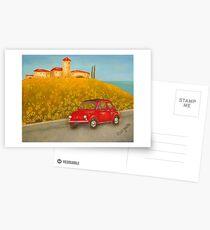 Vintage Red Fiat 500  Postcards