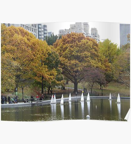 Central Park Lake and Remote Controlled Boats, Autumn Colors, New York City  Poster
